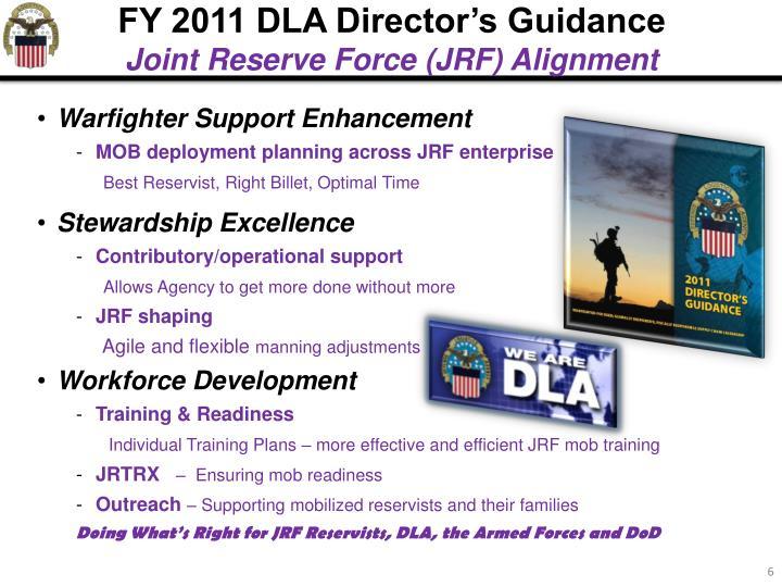 FY 2011 DLA Director's Guidance