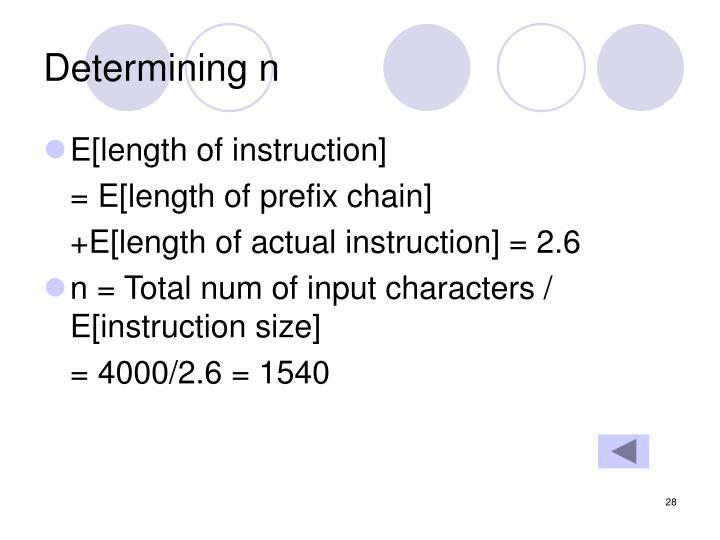 Determining n