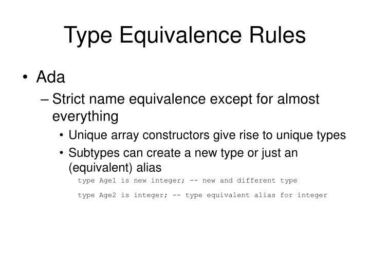 Type equivalence rules