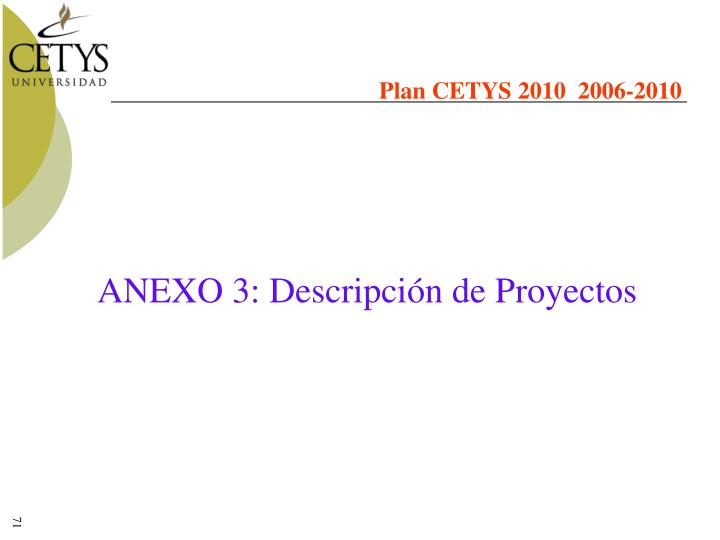 Plan CETYS 2010  2006-2010