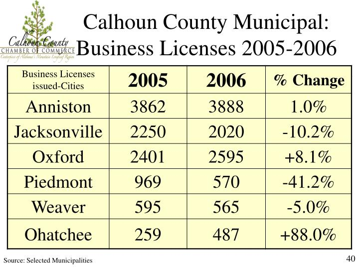 Calhoun County Municipal: Business Licenses 2005-2006