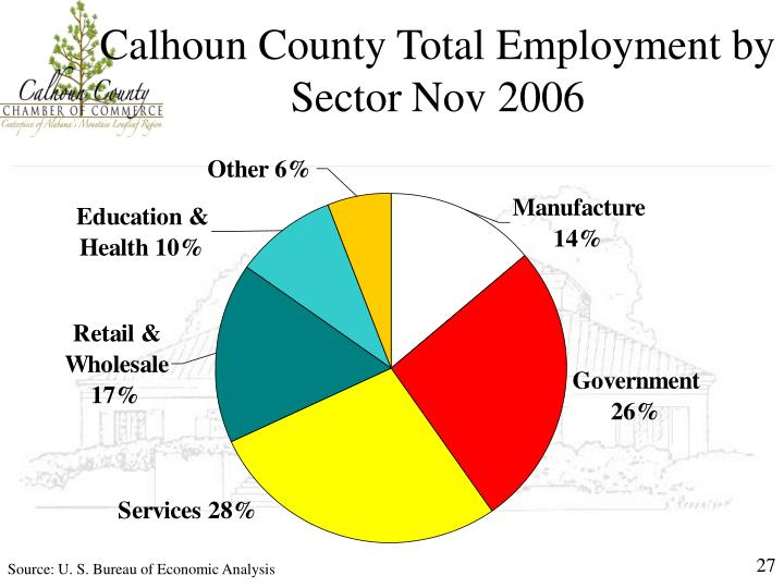 Calhoun County Total Employment by Sector