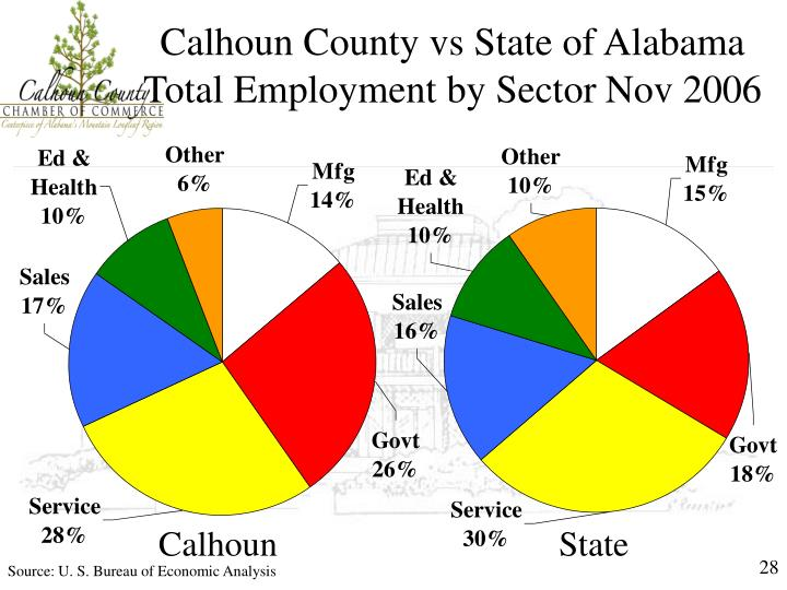 Calhoun County vs State of Alabama Total Employment by Sector