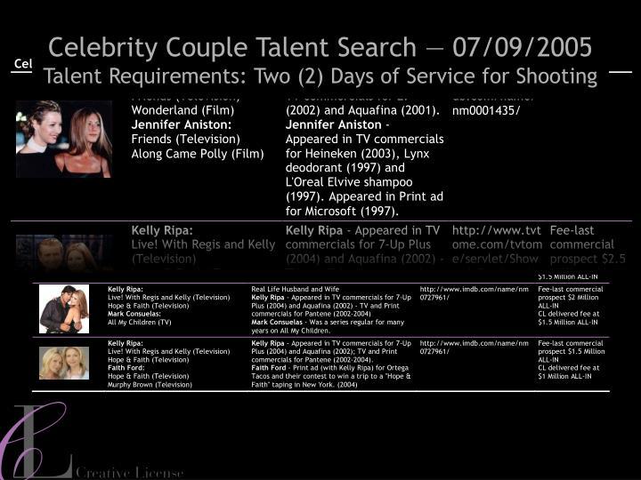Celebrity Couple Talent Search — 07/09/2005