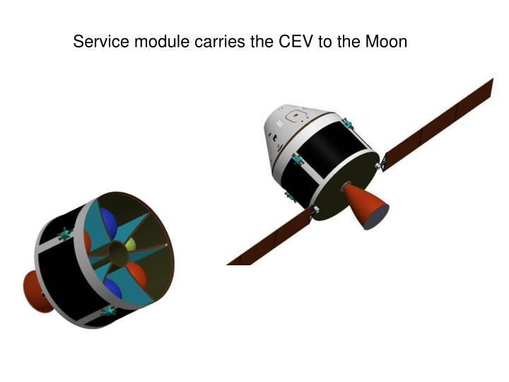 Service module carries the CEV to the Moon