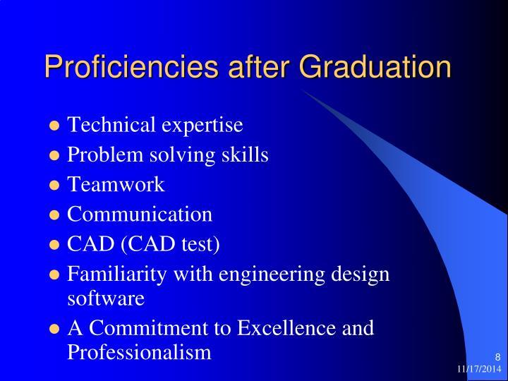 Proficiencies after Graduation