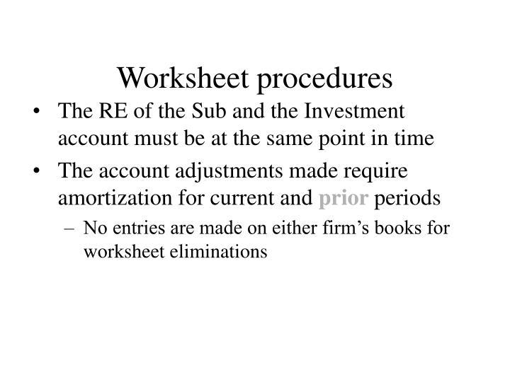 Worksheet procedures