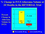 change in ivus atheroma volume at 18 months in the reversal trial