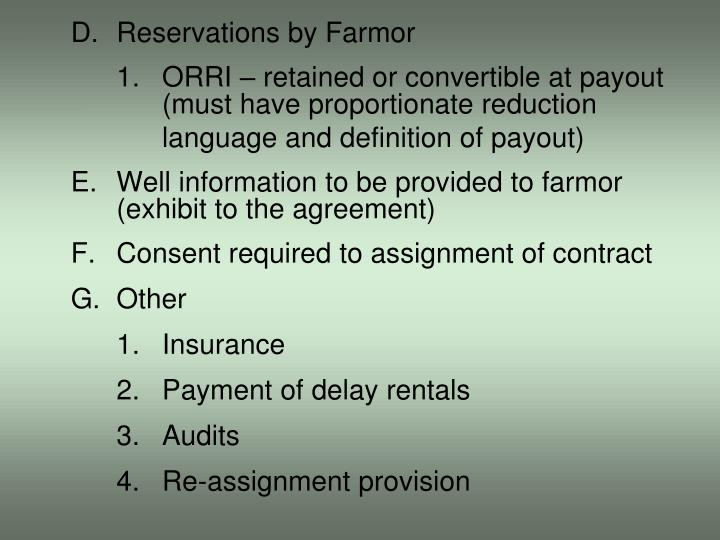 D.Reservations by Farmor
