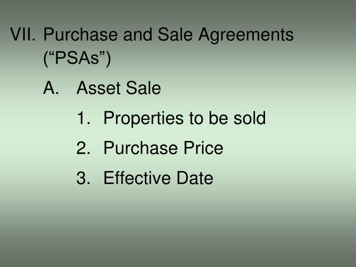 VII.Purchase and Sale Agreements
