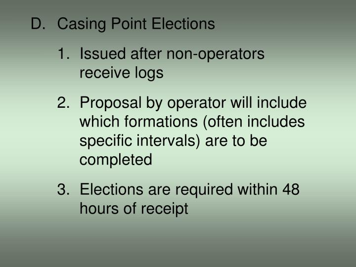 D.Casing Point Elections