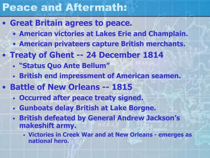 Peace and Aftermath:
