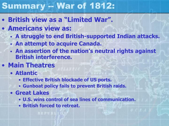 Summary -- War of 1812:
