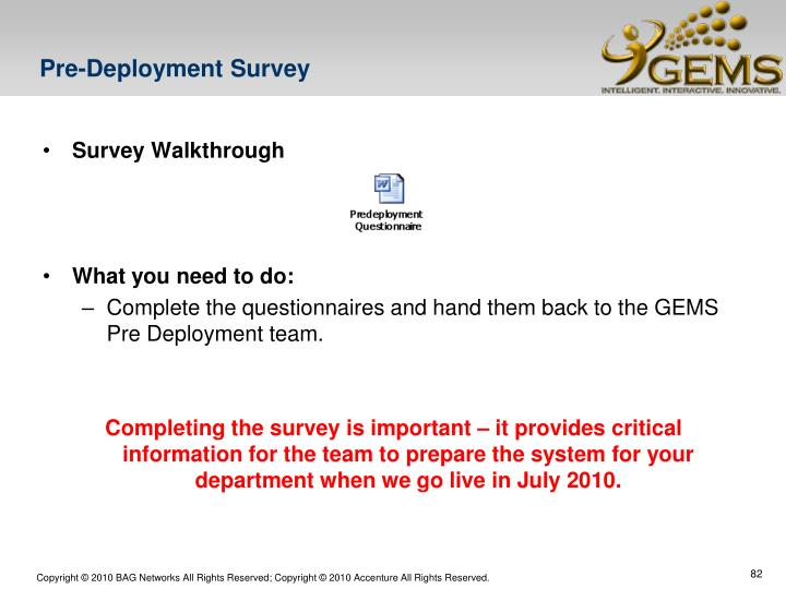 Pre-Deployment Survey