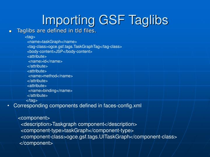 Importing GSF Taglibs
