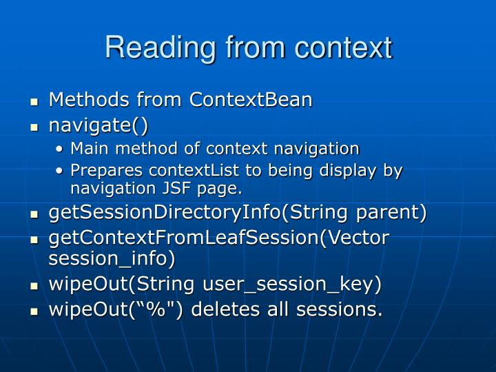 Reading from context