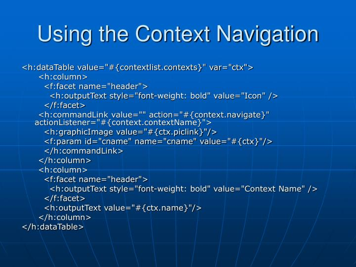 Using the Context Navigation
