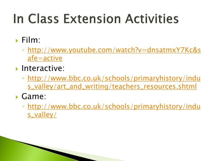 In Class Extension Activities