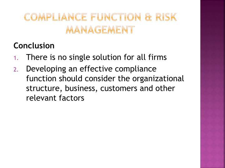 Compliance function & risk management