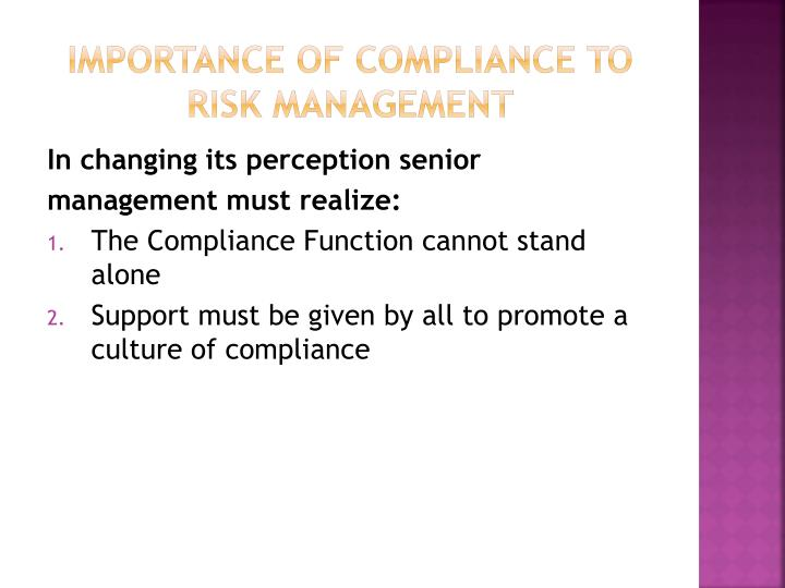 Importance of compliance to risk management