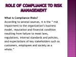role of compliance to risk management1
