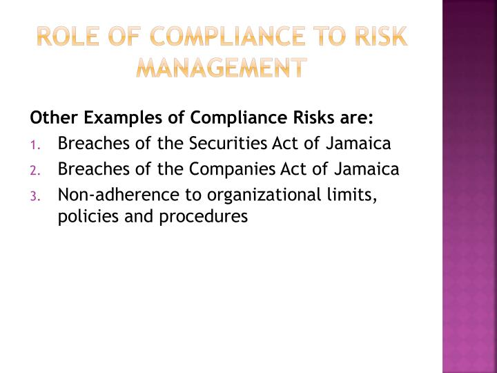 Role of compliance to risk management