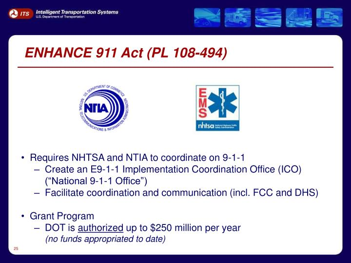 ENHANCE 911 Act (PL 108-494)