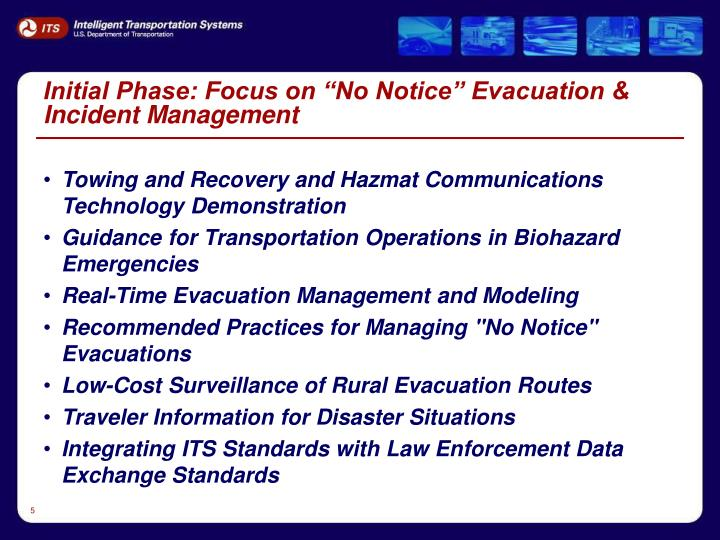 """Initial Phase: Focus on """"No Notice"""" Evacuation & Incident Management"""