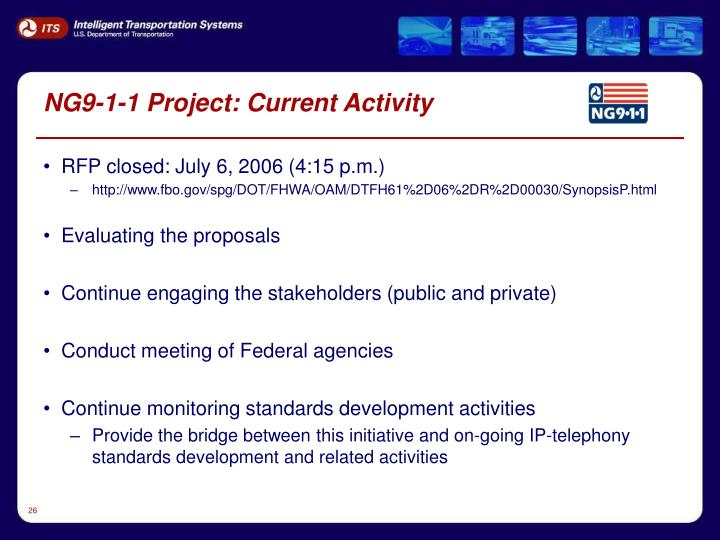 NG9-1-1 Project: Current Activity