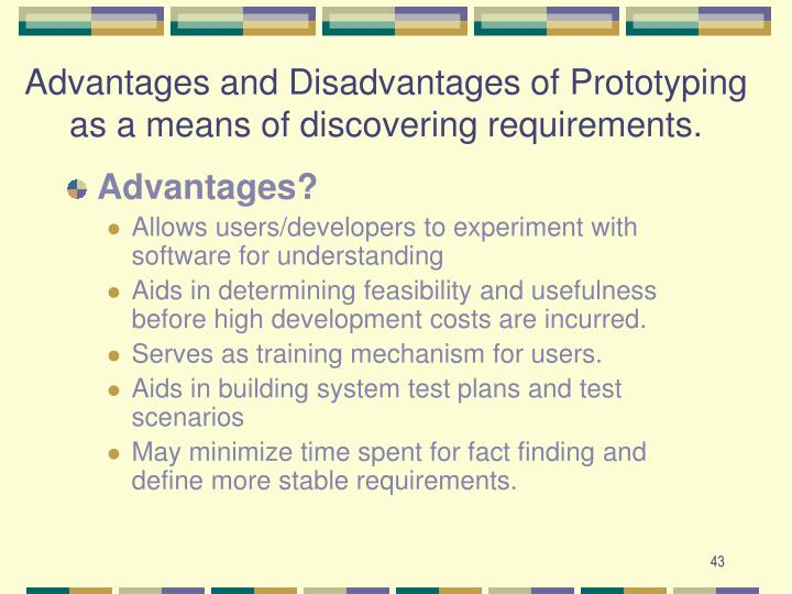 Advantages and Disadvantages of Prototyping as a means of discovering requirements.