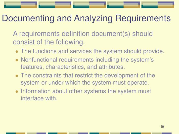 Documenting and Analyzing Requirements