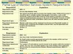 partial list of member services system requirements