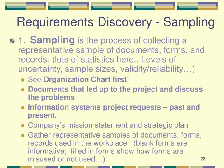 Requirements Discovery - Sampling