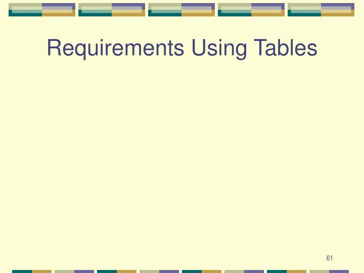 Requirements Using Tables