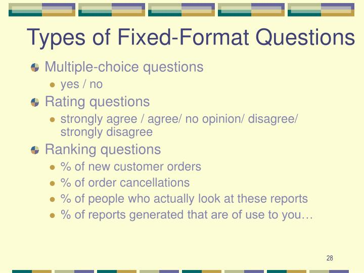 Types of Fixed-Format Questions