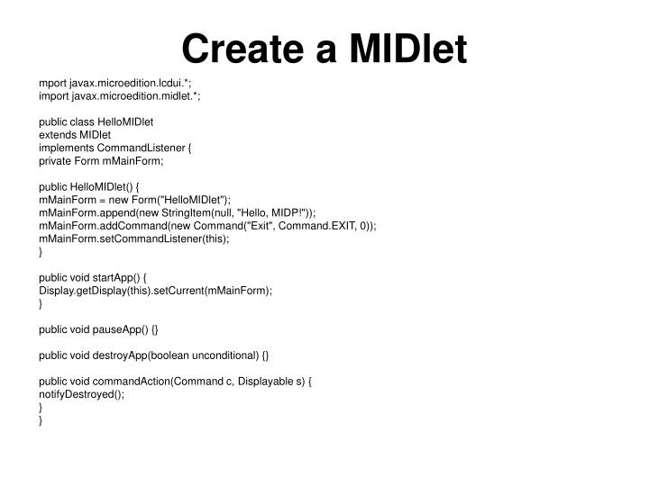 Create a MIDlet