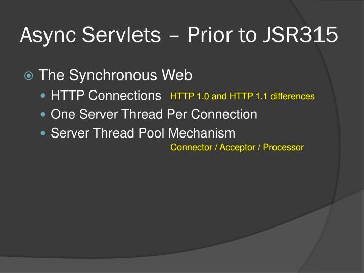 Async Servlets – Prior to JSR315