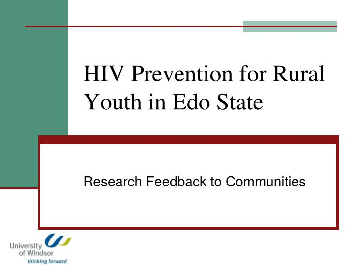 hiv prevention for rural youth in edo state