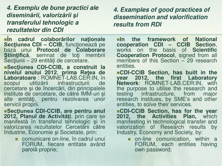 În cadrul colaborărilor naţionale Secţiunea CDI – CCIB