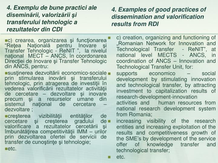 """c) crearea, organizarea şi funcţionarea """"Reţea Naţională pentru Inovare şi Transfer Tehnologic - ReNIT """",  la nivelul naţional  MECT – ANCS, în coordonarea Direcţiei de Inovare şi Transfer Tehnologic din ANCS, pentru:"""