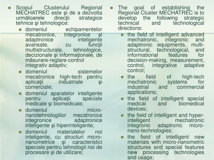 Scopul Clusterului Regional MECHATREC este şi de a dezvolta următoarele direcţii strategice tehnice şi tehnologice:
