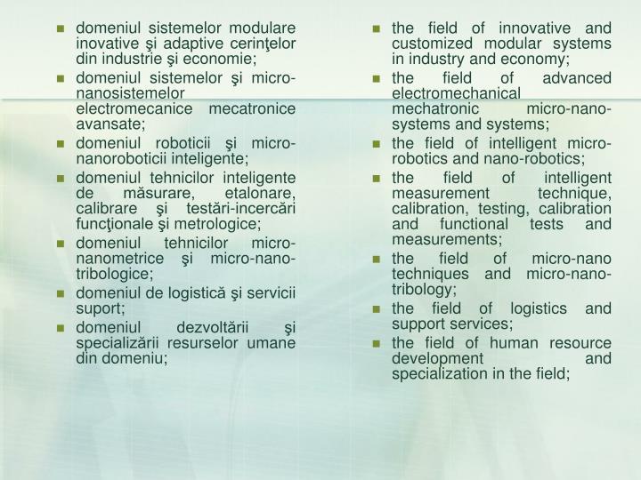 domeniul sistemelor modulare inovative şi adaptive cerinţelor din industrie şi economie;