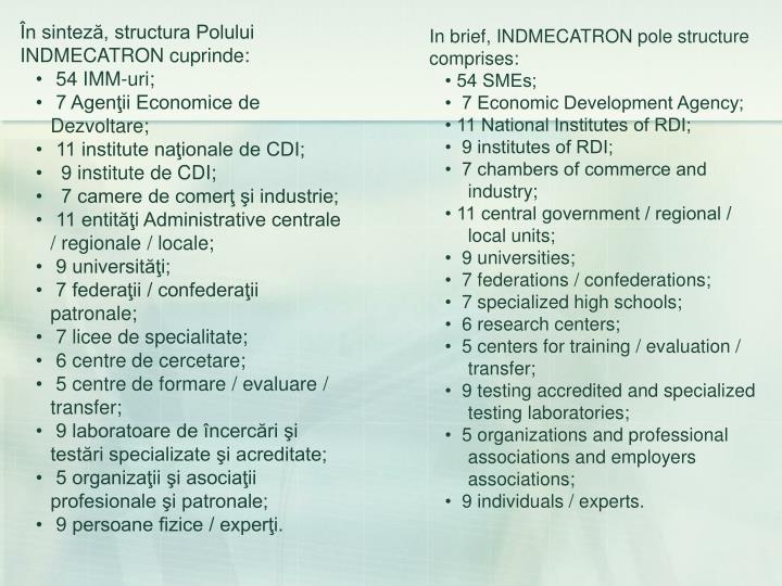 În sinteză, structura Polului INDMECATRON cuprinde: