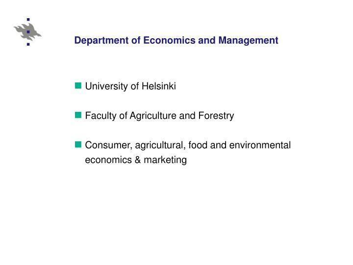 Department of Economics and Management
