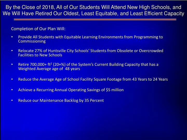 By the Close of 2018, All of Our Students Will Attend New High Schools, and