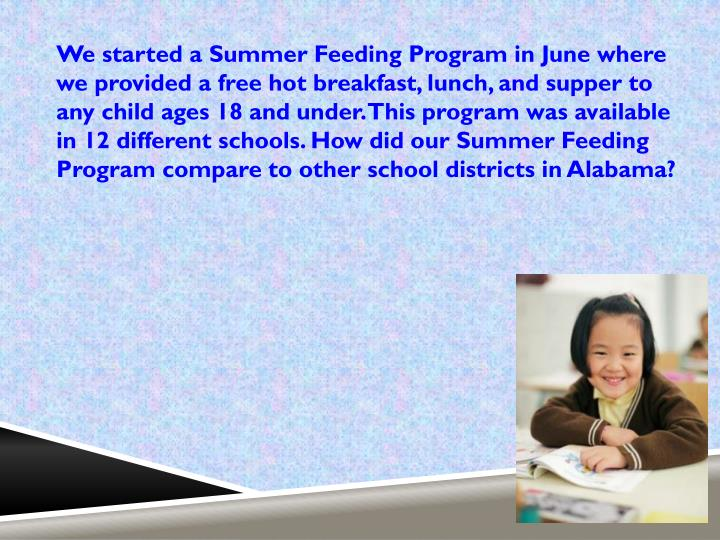 We started a Summer Feeding Program in June where we provided a free hot breakfast, lunch, and supper to any child ages 18 and under. This program was available in 12 different schools.