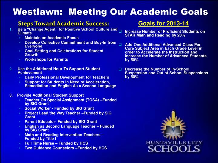 Westlawn:  Meeting Our Academic Goals