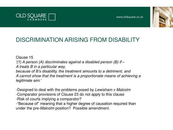 DISCRIMINATION ARISING FROM DISABILITY