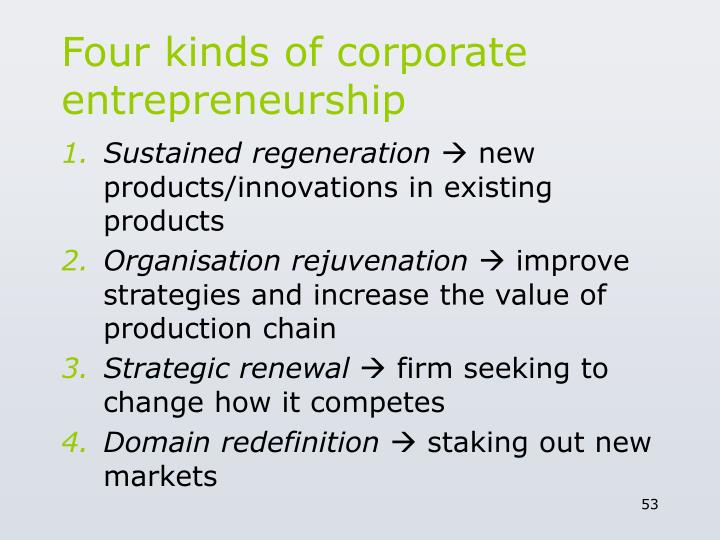 Four kinds of corporate entrepreneurship