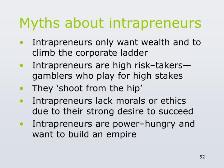 Myths about intrapreneurs